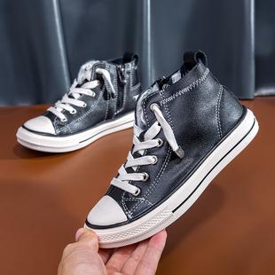 【网红爆款】儿童真皮高帮小白鞋透气运动鞋