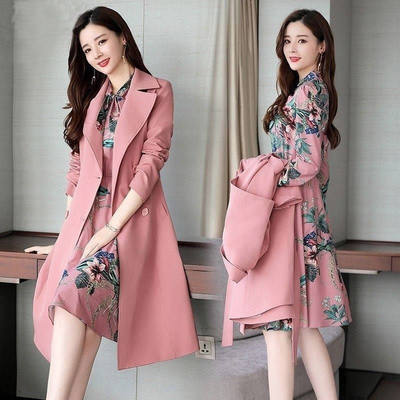 One piece / suit 2020 autumn suit new mid-length long-sleeved dress trench coat jacket female two-piece suit