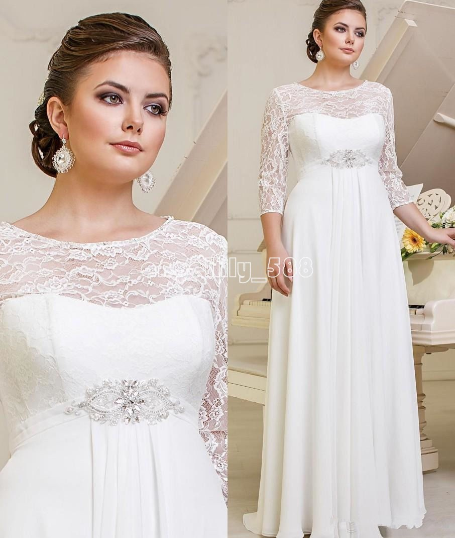 New Lace Chiffon Wedding Dresses Bridal Gown Custom Plus
