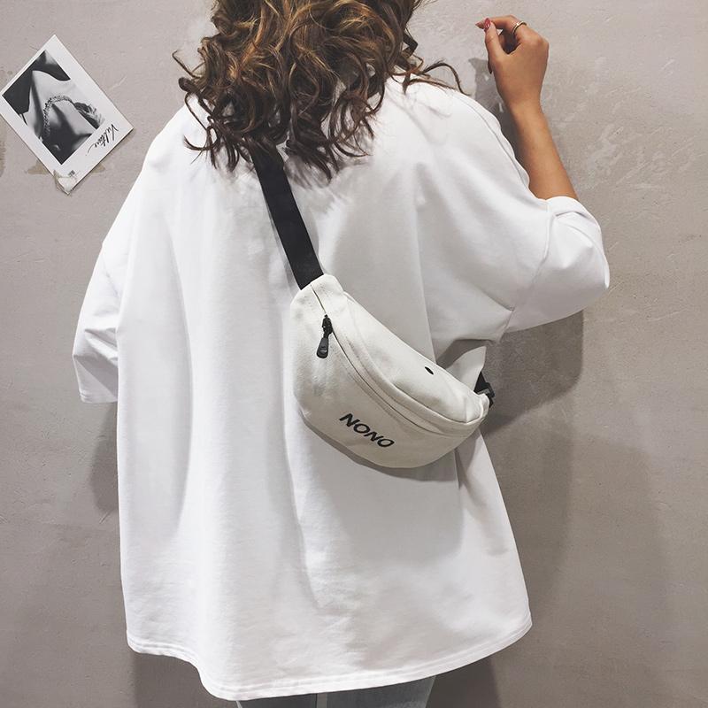 小腰包女2019新款韩版百搭休闲运动ins个性包包原宿印花斜挎胸包