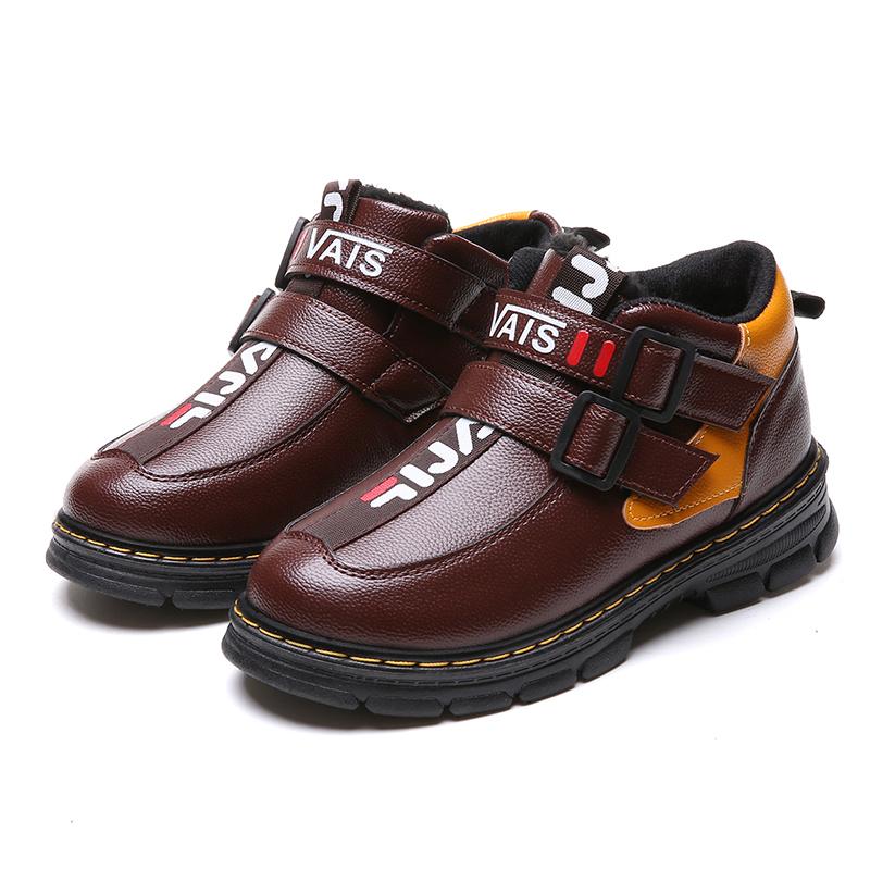 儿童棉鞋2018冬季新款加绒保暖中大童短靴男童鞋小孩雪地棉靴子潮
