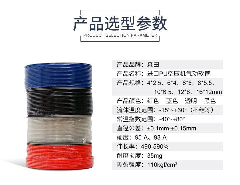 森田PU高压8*5空压机气管软管8/12*8/10/6/4/2.5汽管气管气动子
