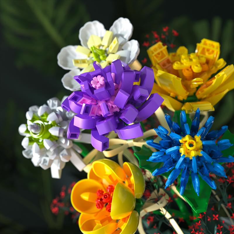 森宝积木森宝花束鲜花装饰插干花朵积木送母亲节生日礼物男女朋友