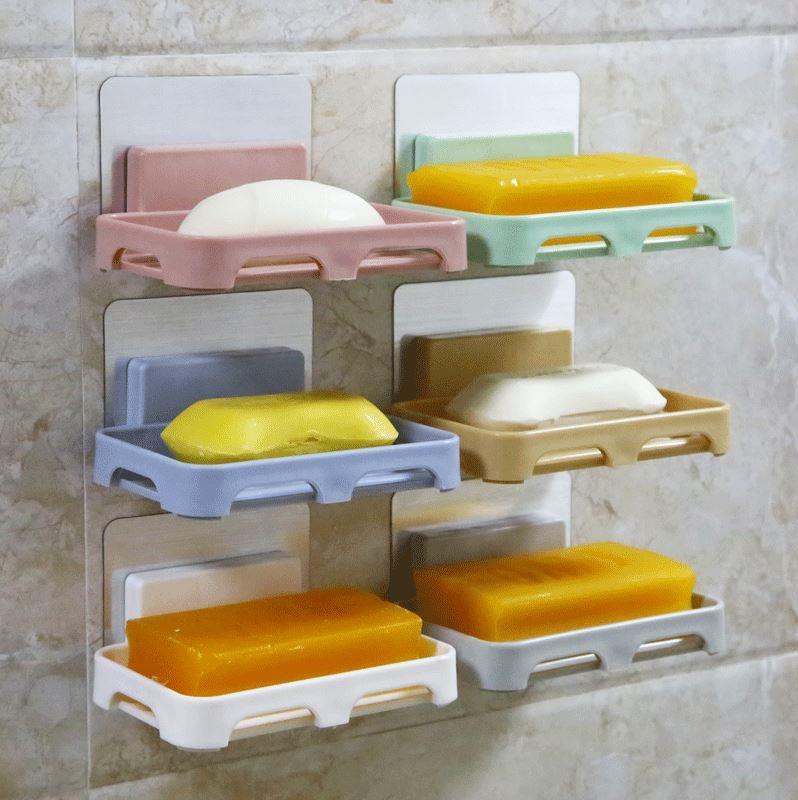 吸盘盒浴室宿舍肥皂学生香皂创意壁挂式沥水盒免打孔香皂架三层