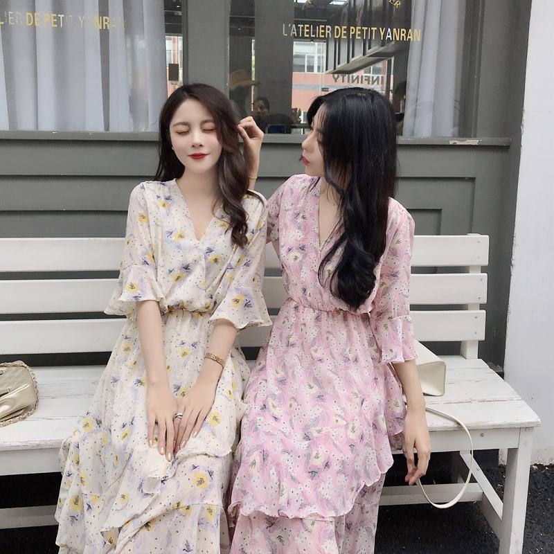 姐妹装网红裙子气质V领雪纺裙子闺蜜装