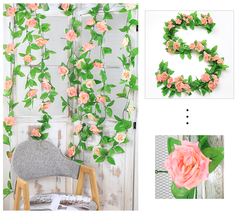 仿真玫瑰花藤假花藤条空调管道遮挡客厅吊顶装饰塑料藤蔓缠绕植物详细照片