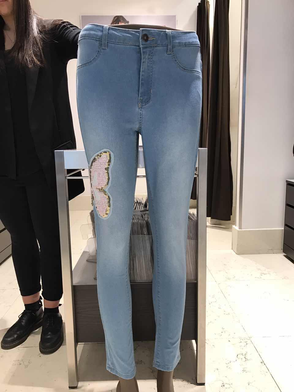 431a69519cbd8 Calzedonia summer powder white beads butterfly Fly fly skinny jeans leggings  body pants