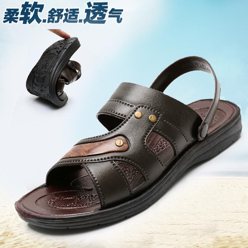 2020新款夏季防水防滑男士凉鞋两用仿皮凉鞋休闲男士沙滩男款凉鞋