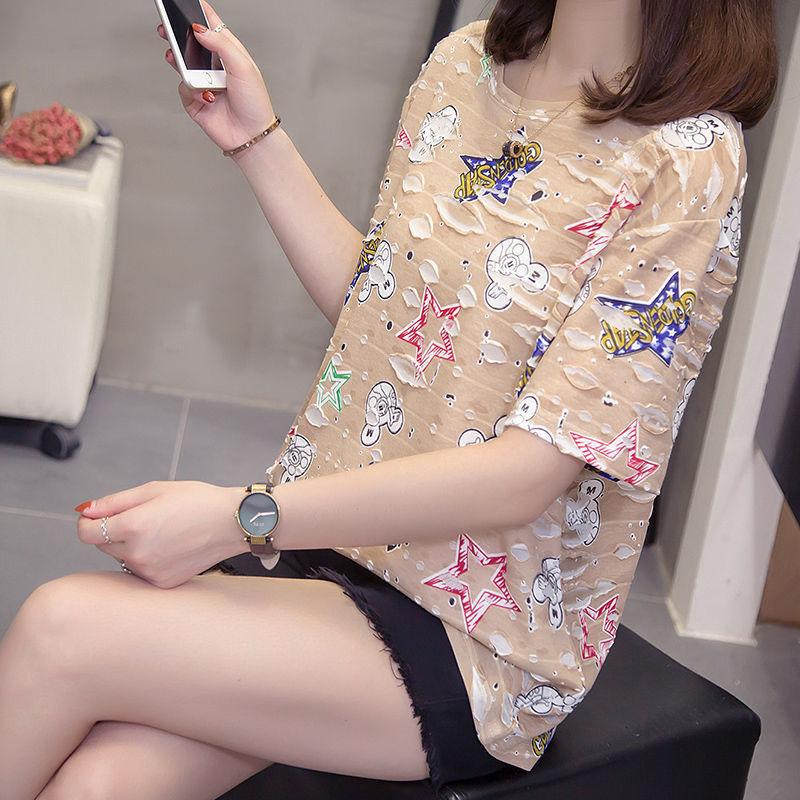 新款韩版人棉大码短袖t恤女胖mm学生