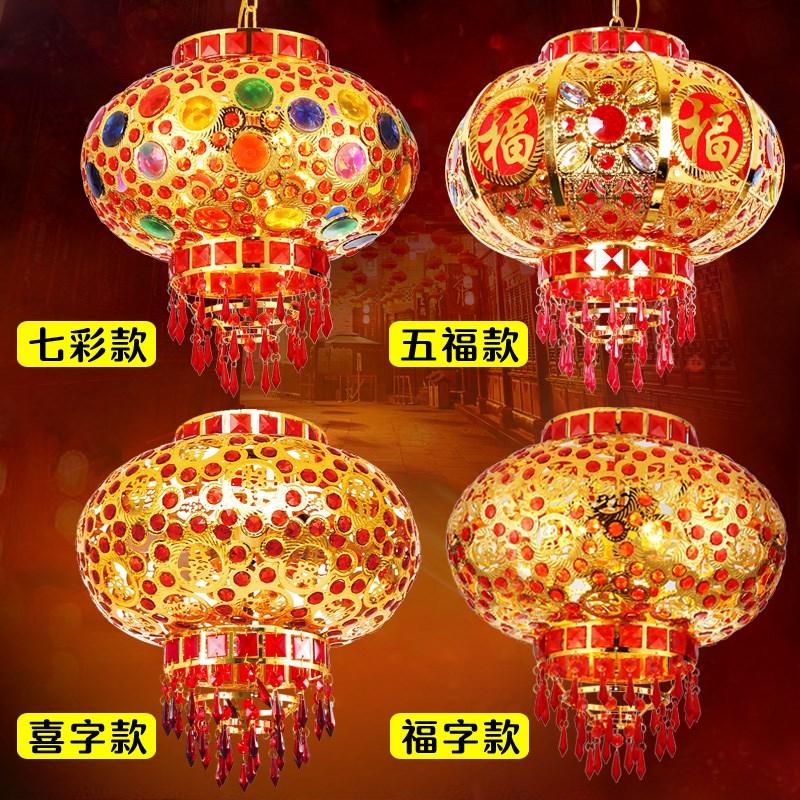 灯笼大红阳台v灯笼新年装饰中式走马灯LED户外小挂饰旋转灯笼