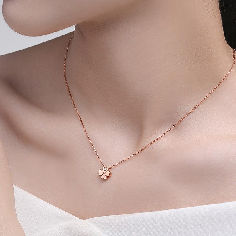 JOFFRE钻石项链女幸运四叶草锁骨链吊坠合金玫瑰金色项链真钻正品