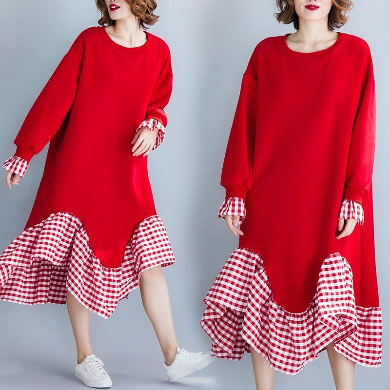 胖女人冬装洋气胖mm连衣裙秋大码红格子拼接减龄加绒宽松中长裙子