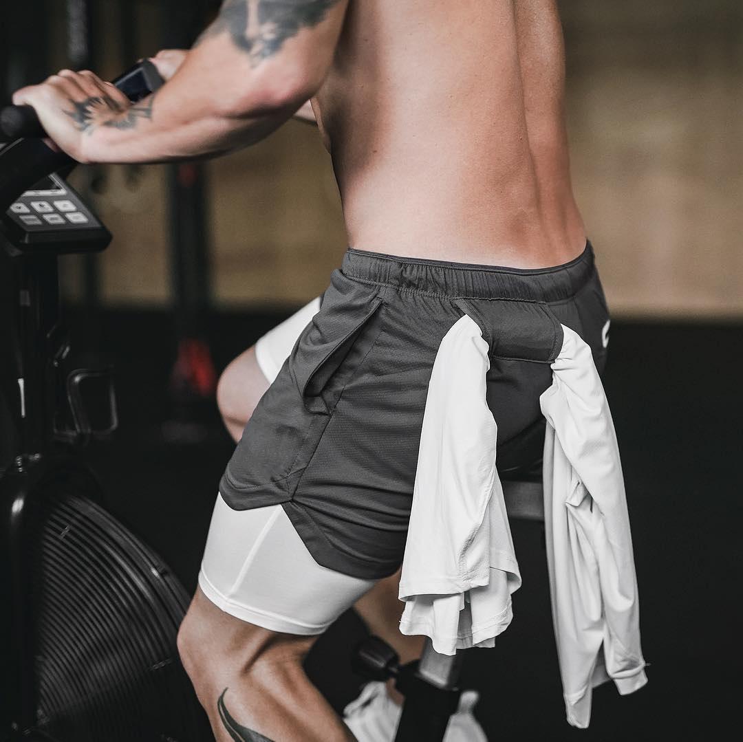 裤子兄弟新款健身短裤男夏季速干大码网眼肌肉运动假两件五分拳击