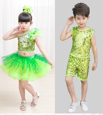 Jazz Dance Costume performance clothes sequins Children jazz performance clothes Boys and girls dancing clothes Pengpeng skirt green