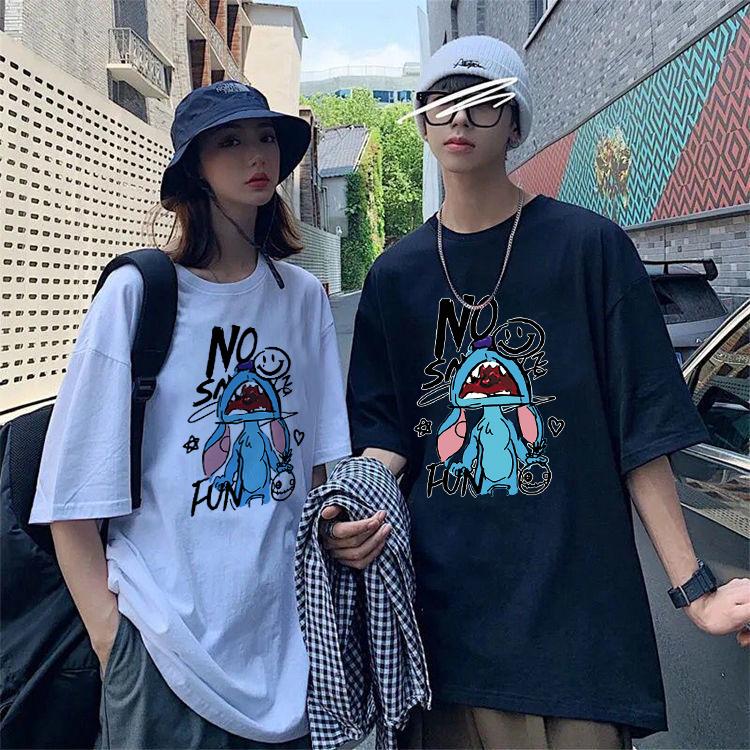 【拍三件】秘印韩版宽松印花情侣短袖t恤