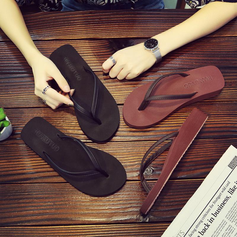 人字拖女夏拖鞋海边韩版沙滩坡跟厚底外穿平底外出防滑夹脚凉时尚