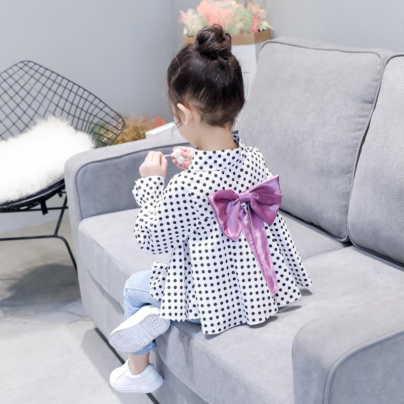 女童衬衫 春装2018新款韩版儿童衬衣 圆点蝴蝶结宽松娃娃衫上衣