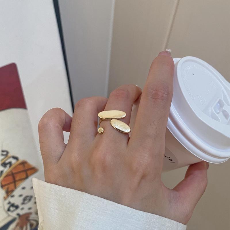 中國代購 中國批發-ibuy99 韩国东大门新款几何金属设计感小众铜开口可调节指环戒指女ins风