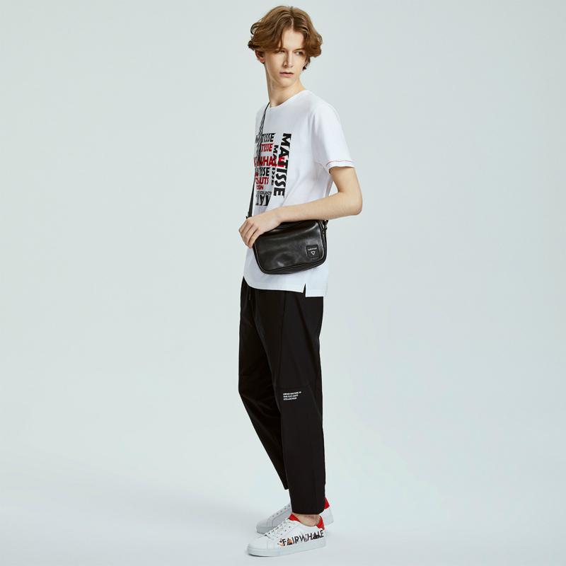 商场同款马克华菲短袖T恤男士2019夏季新款潮流撞色字母印花上衣