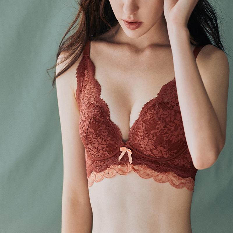 法式蕾丝内衣女无钢圈文胸聚拢收副乳,少女蕾丝胸罩