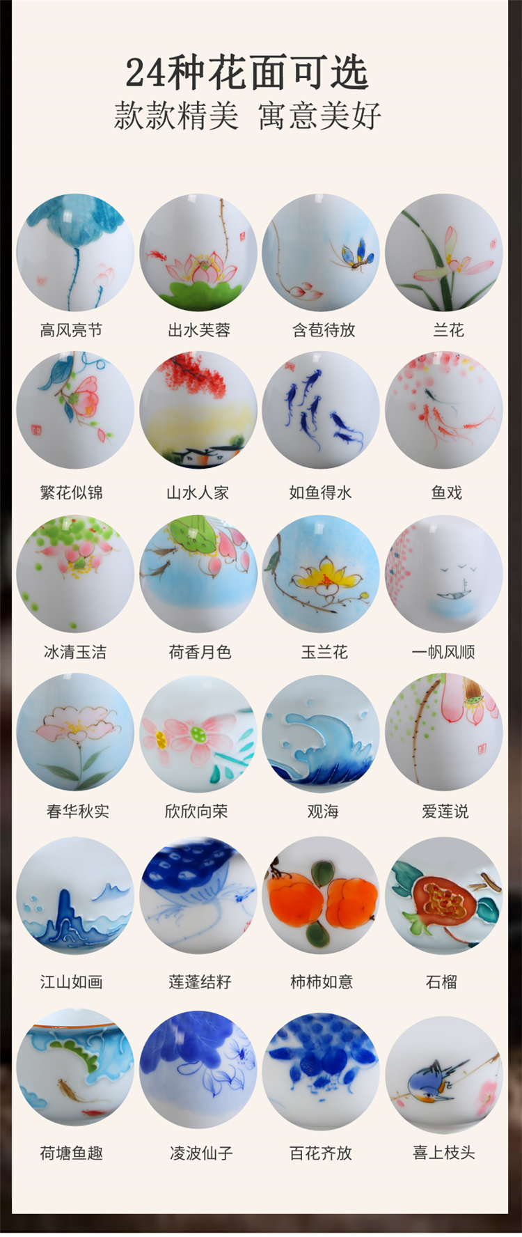 Japanese checking sample tea cup kung fu tea set of blue and white porcelain teacup large - sized hand - made ceramic personal single CPU master CPU