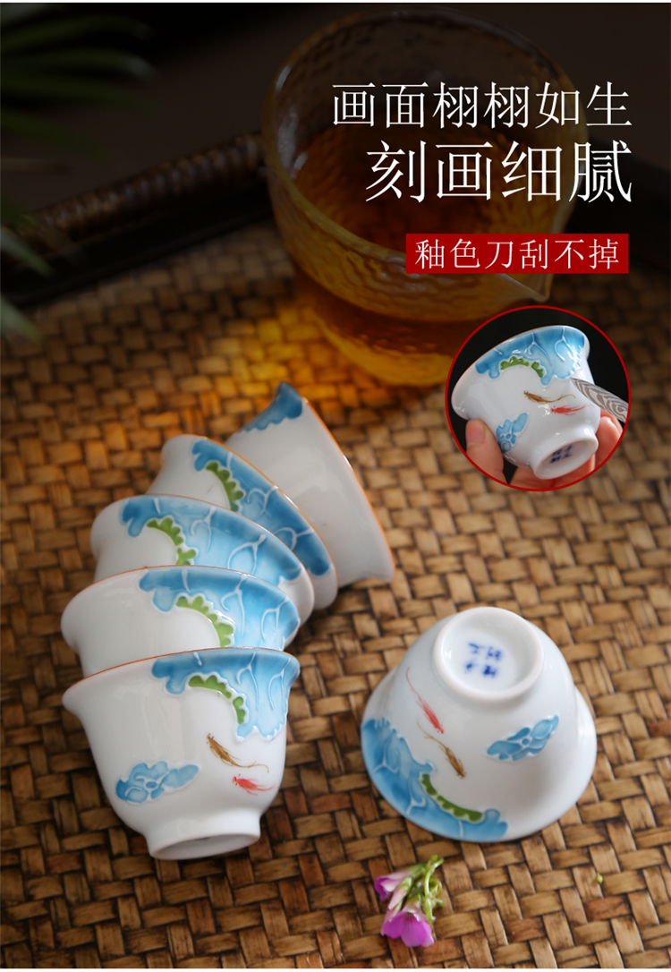 Hand made blue and white porcelain kung fu tea cup single CPU master cup sample tea cup tea sets tea bowl of individual cup
