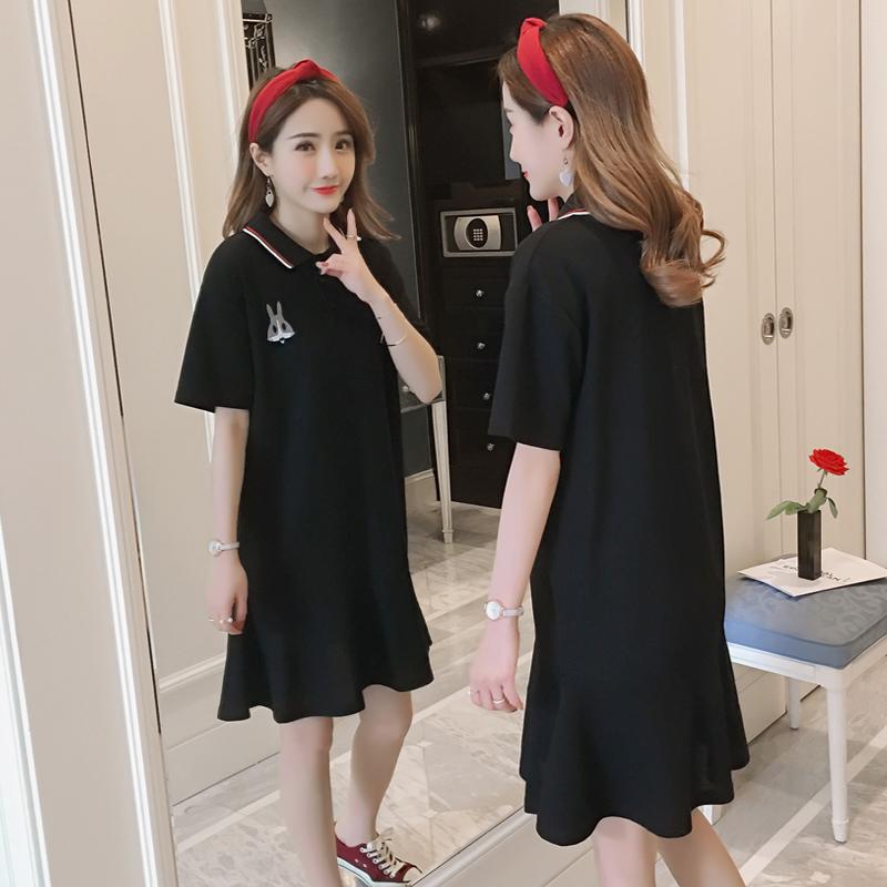 Phiên bản Hàn Quốc của áo sơ mi nữ cotton cỡ lớn, áo thun thêu nữ, váy đuôi cá, áo dài màu đen ở giữa - Cộng với kích thước quần áo