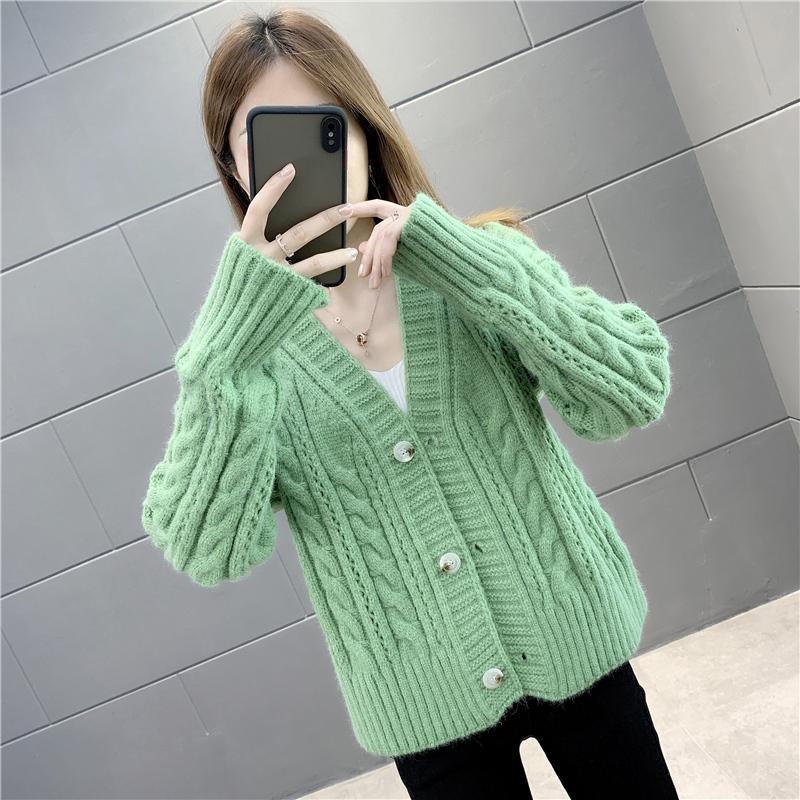 肯梵图春秋装2021年新款小款针织开衫女单排扣麻花毛衣短款外套