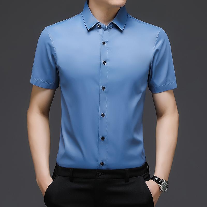肯梵图男士中青年夏季短袖衬衫寸衣韩版时尚纯色简约商务风绅士