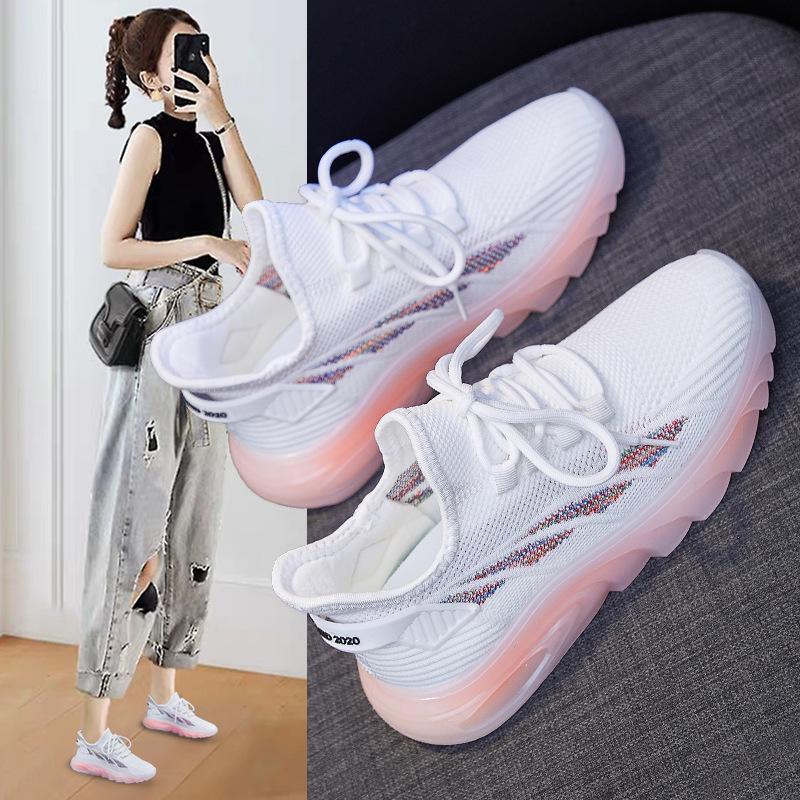 ins韩版飞织女鞋2021春新款学生运动鞋女透气健身跑步休闲椰子鞋