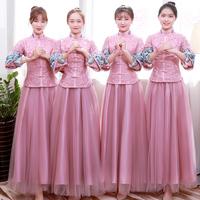 Платье подружки невесты женское зима 2018 новая коллекция Китайская сестра юбка новый женщина длинный рукав Bridesmaids розовый длинный фасон Платье в китайском стиле