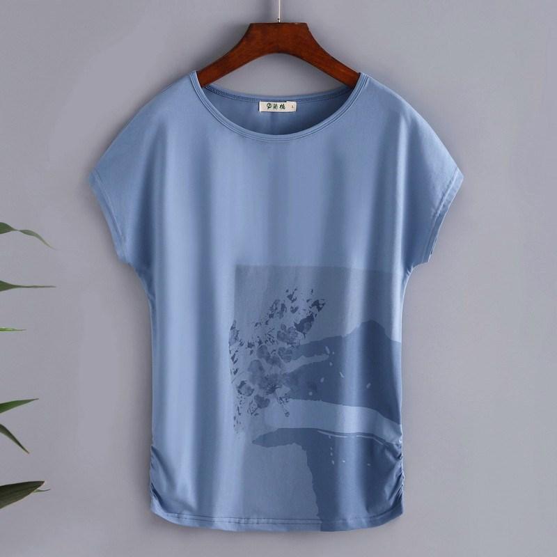 短袖衫2019韩版短袖t恤女上衣宽松大码体中年夏装妈妈洋气篇幅