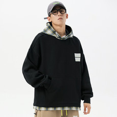 Twenty-eight autumn and winter fake two-piece plaid plus velvet hooded pullover sweater tide men's Japanese casual loose long sleeves