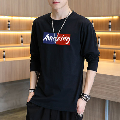 Men's long-sleeved t-shirt autumn and winter new loose round collar wild trend white compained men's clothing