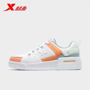 特步板鞋休闲鞋女2020秋季新款樱花鞋子官方正品百搭运动鞋女鞋