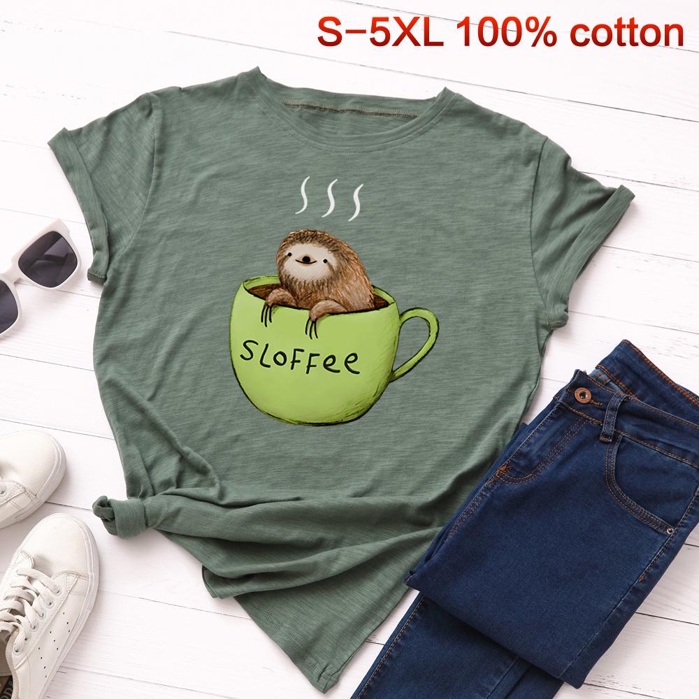 现货 wish ebay欧美新品爆款有趣可爱树懒纯棉印花大码女T恤上衣