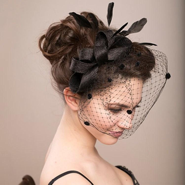 丝遮面婚礼礼帽配饰结婚复古网纱发饰色蕾蕾丝黑头饰新娘韩式头花