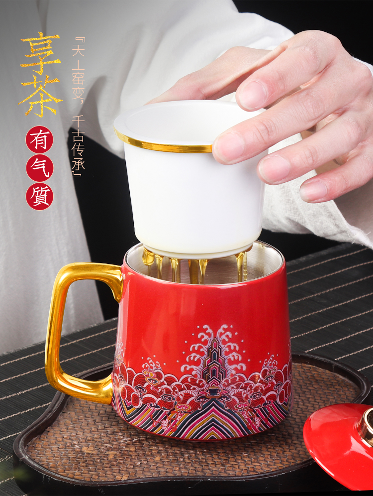 Artisan fairy coppering. As silver personal glass checking ceramic filter home office kung fu tea cups with cover bladder mugs