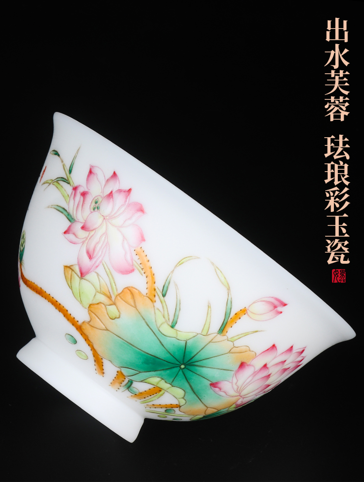 Artisan fairy orphan works hand - made only three tureen dehua white porcelain cups tureen kung fu tea set household ceramic tea bowl