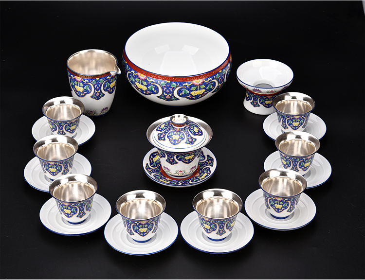 The ancient sheng up coppering. As silver tea set blue and white porcelain enamel teapot silver cups kung fu tea set of a complete set of The home
