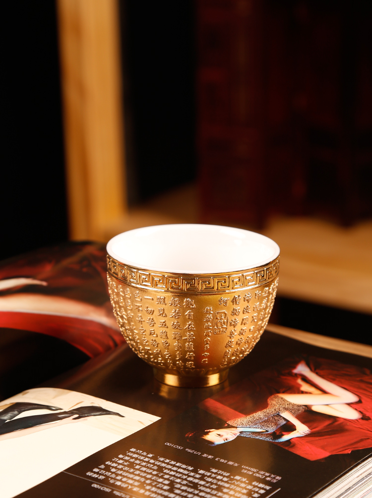 The ancient up with 24 k gold heart sutra cup tea light golden cup kung fu master cup personal single cup sample tea cup white porcelain cups