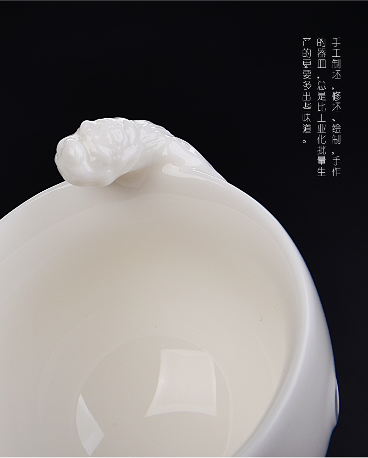 Ancient sheng dehua white porcelain up new rohan master cup ceramic personal dragon jade porcelain cup sample tea cup single cup gift box