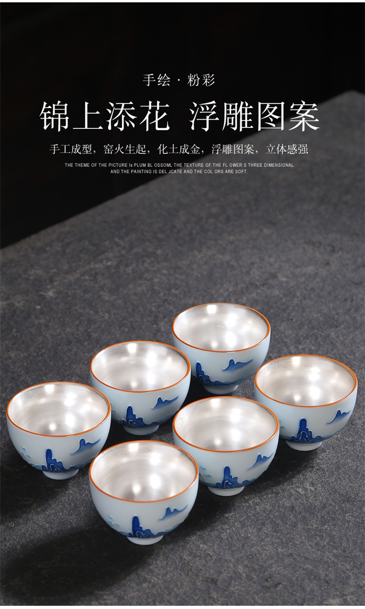 Gold hand made blue and white porcelain cups kung fu tea tea set ceramic masters cup, small cup single sample tea cup bowl