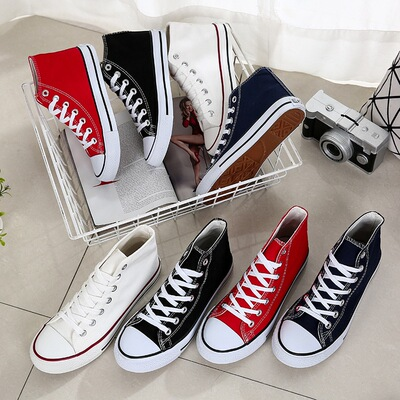 2017 autumn new flat high shoes canvas shoes sports men's shoes Korean casual shoes tide shoes couple models