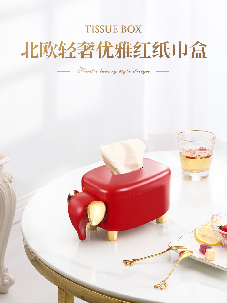 Tissue box Living room creative household ins wind light luxury roll toilet paper box Desktop decoration Wedding simple spring toilet paper box