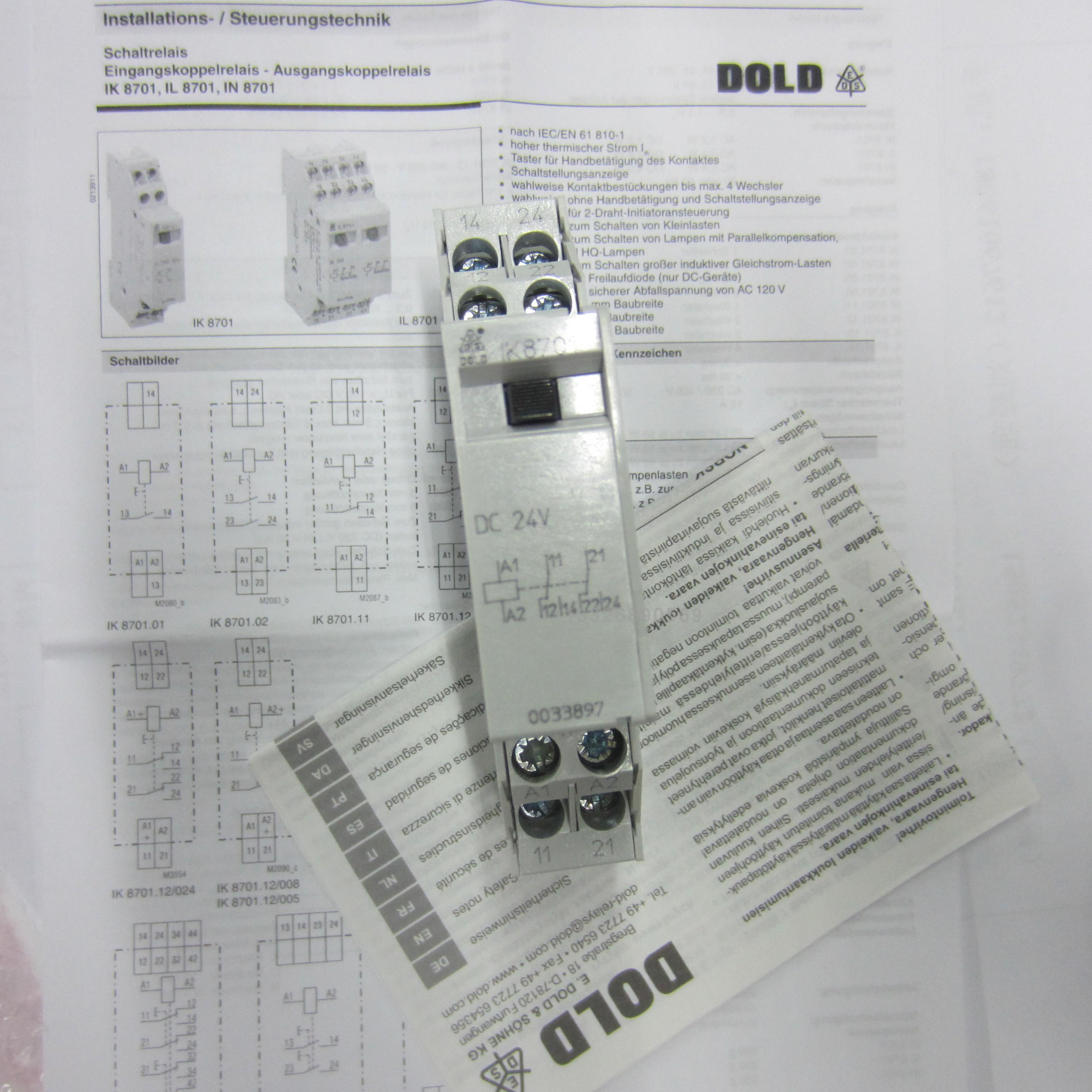 Dold ik8701.12 AC 24 V 50 Hz 0033894 Boutons relais-UNUSED//Neuf dans sa boîte E