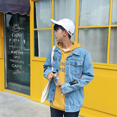 2018 autumn new denim jacket men Slim wild denim jacket students youth Korean tide men