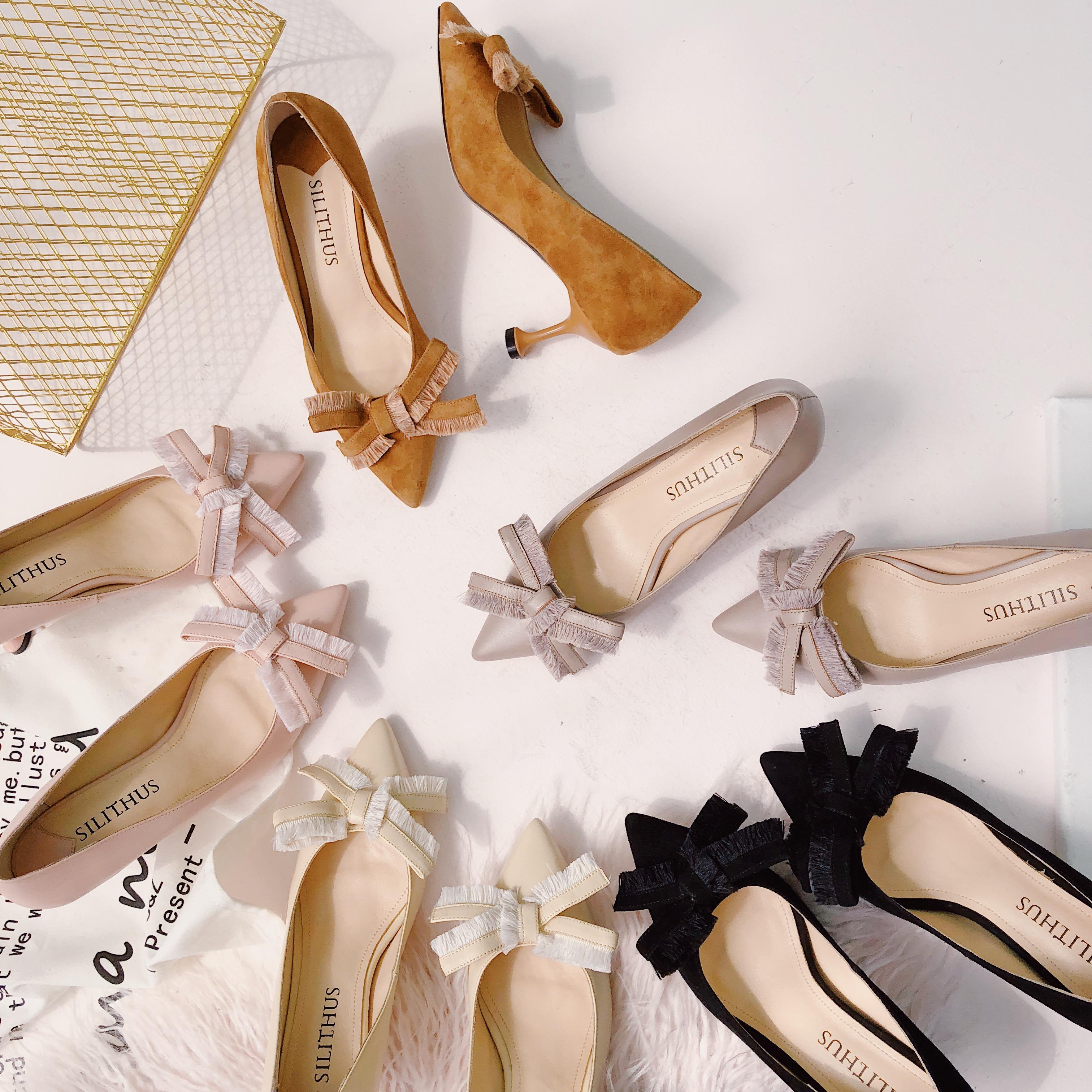 【 король небольшой яд 】 тендер тест исследовать наконечник мелкий рот бант натуральная кожа бокал с высокой сопровождать обувь обувь женская 3.8
