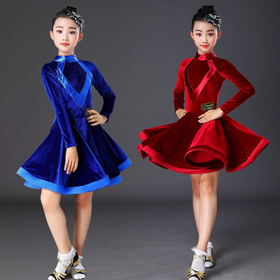 Children's Latin dance dress girl's gold velvet Latin Dance Dress training skill dress competition dance dress