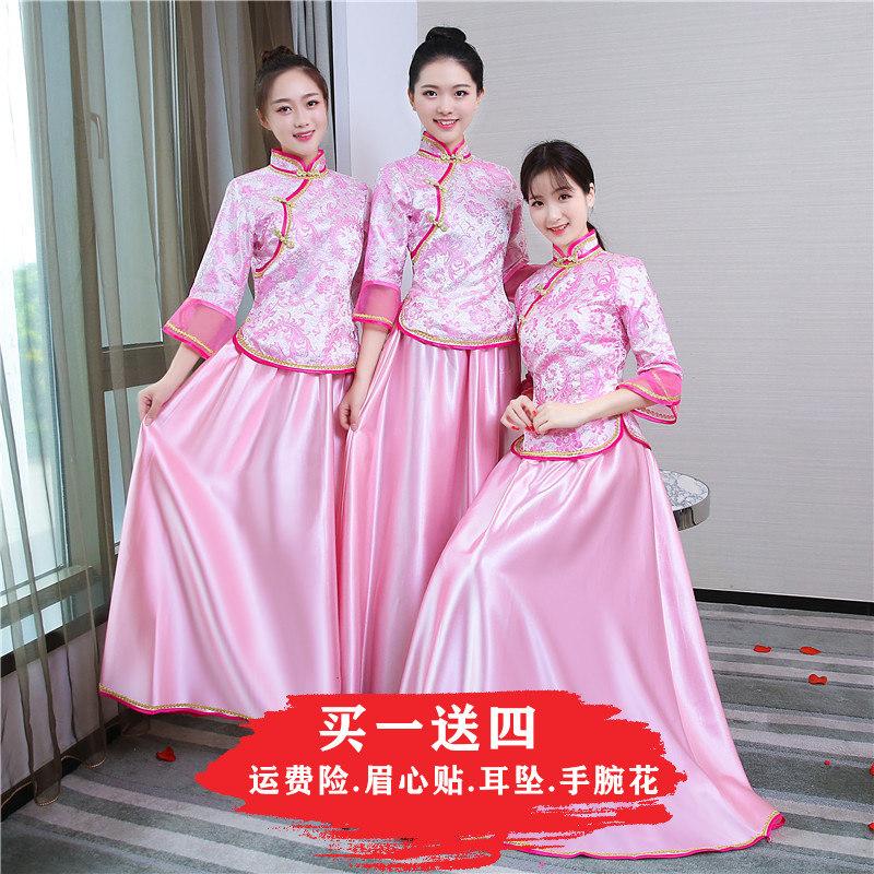 2019新款中式姐妹婚礼服女伴娘团闺蜜装礼服复古中国风秀禾装春季